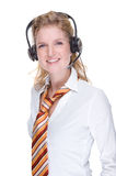 Call center agent. Full isolated portrait of a beautiful caucasian call center agent Royalty Free Stock Images