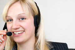 Call Center Agent. Having a telephone call Royalty Free Stock Photography