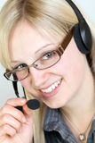 Call Center Agent. Having a telephone call Stock Photography