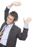 Call-center agent cheering Stock Photos