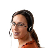 Call Center Agent looking back Stock Photo