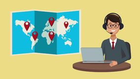 Travel call center agency HD animation. Call center agent offering vacation trips High Definition animation colorful scenes stock video