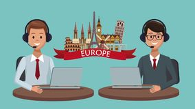 Travel call center agency HD animation. Call center agent offering vacation trips High Definition animation colorful scenes stock footage