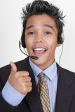 Call center agent thumbs up portrait Stock Photo