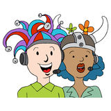 Call Center Agents Funny Hats Stock Photo