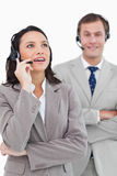 Call center agents standing together Stock Image
