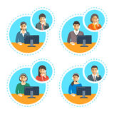 Call center agents talk on the phone with customer Royalty Free Stock Photo