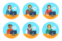 Call center agents team at desks flat icons Stock Images