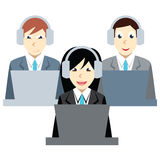 Call center agents team at office. Customer care operators, guys and girls with smiling faces sitting at desks with computers. Onl Royalty Free Stock Image