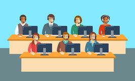 Call center agents team at office flat banner Royalty Free Stock Photos