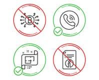 Call-Center, Architekturplan und Bitcoin-Systemikonensatz Technisches Hinweiszeichen Vektor lizenzfreie abbildung