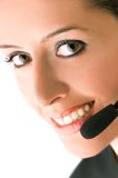 A call center assistant. Closeup of a beautiful call center assistant Royalty Free Stock Image