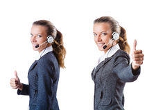 The call center assistant responding to calls Stock Photography