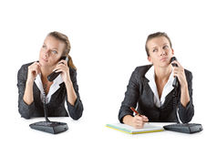 The call center assistant responding to calls Stock Images