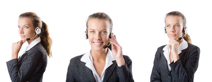 The call center assistant responding to calls Royalty Free Stock Image