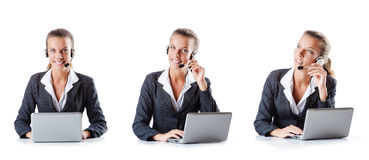 The call center assistant responding to calls Royalty Free Stock Photography