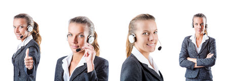 The call center assistant responding to calls Stock Photos
