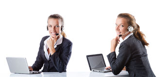 The call center assistant responding to calls. Call center assistant responding to calls Stock Photography