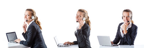 The call center assistant responding to calls Stock Photo