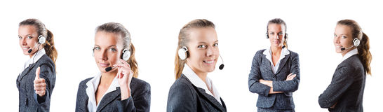 The call center assistant responding to calls Royalty Free Stock Images