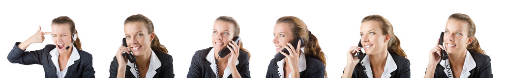 The call center assistant responding to calls Royalty Free Stock Photos