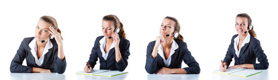 The call center assistant responding to calls Royalty Free Stock Photo