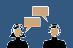 Call center avatar icons. Of male and female wearing headsets, with speech bubbles, suitable for helpdesk and other customer support services Royalty Free Stock Photography
