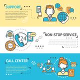 Call Center Banner Set. Call center horizontal banner set with non-stop support service elements isolated vector illustration Royalty Free Stock Image