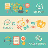 Call center  banners set with support and service Royalty Free Stock Images