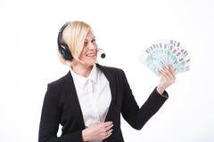 Call-Center-Betreiber mit Bargeld Lizenzfreies Stockbild