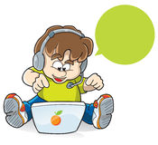 Call center boy. A boy in a call center, internet surfing Royalty Free Stock Photos