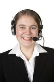 Call center business girl with headset Stock Image
