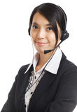 Call center business woman with headset Stock Photos