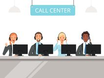 Call center characters. Business customer service agents operator in headset sitting front laptop computers vector vector illustration
