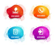 Call center, Checklist and Elastic icons. Login sign. Phone support, Survey, Resilience. Sign in. Vector. Liquid badges. Set of Call center, Checklist and royalty free illustration