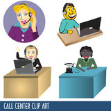 Call Center Clip Art. Collection, four illustrations Stock Images
