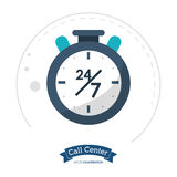 Call center clock time service. Illustration eps 10 Stock Image