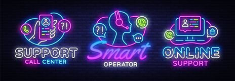 Call Center collection neon signs vector. Support design template concept. Neon banner background design, night symbol. Modern trend design. Vectro royalty free illustration