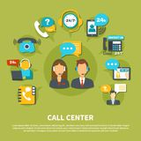 Call Center Composition. On green background with staff in headset during consultations, online support vector illustration stock illustration