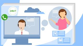Call center concept. Can use for web banner, infographics, hero images. Customer support concept. Flat vector illustration royalty free illustration