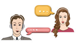 Call center concept with man and woman in headset. Stock Photo
