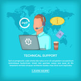 Call center concept tech support, cartoon style Royalty Free Stock Photography
