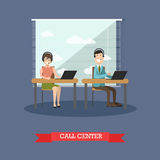 Call center concept vector illustration in flat style Royalty Free Stock Photos