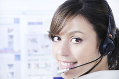 Call center, customer service and headphones Royalty Free Stock Photo