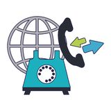 Call center and customer service. Telephone and world globe vector illustration graphic design vector illustration graphic design stock illustration