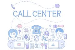 Call center customer service theme. Icons related to online support phone, operators, headphones, wrench, laptop. Hand drawn sketch design. Elements for Royalty Free Stock Images