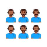 Call center customer support phone operator. Assistants flat avatars. Men emoji portrait set. Online live chat agents with headphones cartoon illustration Royalty Free Stock Images
