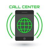 Call center dell'icona Logo, globo verde, telefono cellulare, onde sonore Fotografie Stock Libere da Diritti