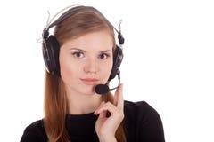Call center dell'operatore in cuffie immagine stock