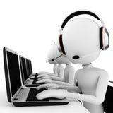 call center dell'uomo 3d isolata su bianco Immagini Stock Libere da Diritti